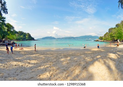 Patong, Thailand - October 14, 2014: Tourists on the secluded and private Paradise Beach in Phuket.