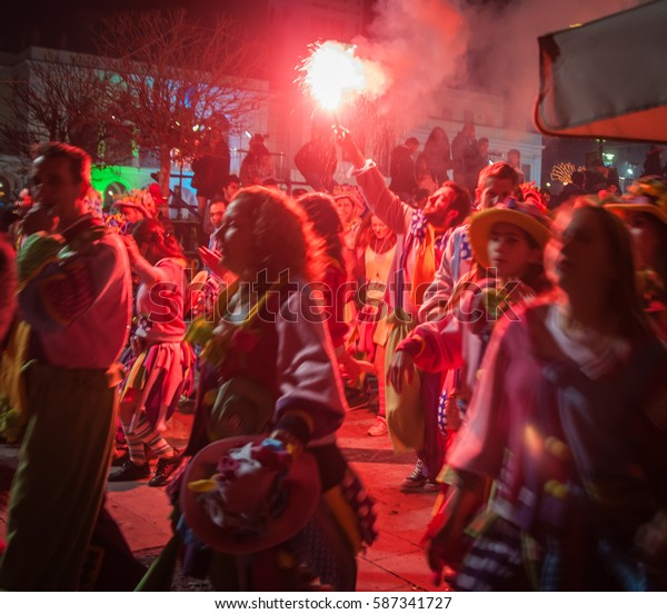 Patra, Greece - March 16, 2013, Night parade at the annual carnival in Patras on Peloponnese in  Greece