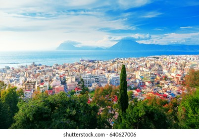 Patras city, Greece, view from above scenery. Patras is Greece's third-largest city and the regional capital of Western Greece, in the northern Peloponnese, 215 km (134 mi) west of Athens.