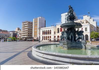 PATRAS, GREECE - JULY 5: Georgiou I square (Plateia Vasileos Georgiou) on July 5, 2019 in Patras. Georgiou I Square is the central square of Patras, Greece. The square is named after King George.