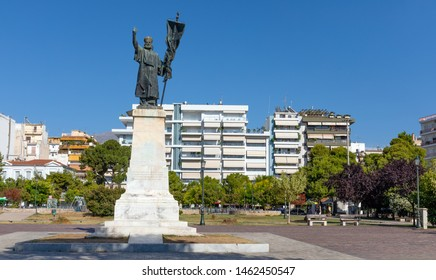 PATRAS, GREECE - JULY 5: The statue of Germanos III of Old Patras in Psilalonia square on July 5, 2019 in Patras. Germanos III of Old Patras played in important role in the Greek Revolution of 1821.
