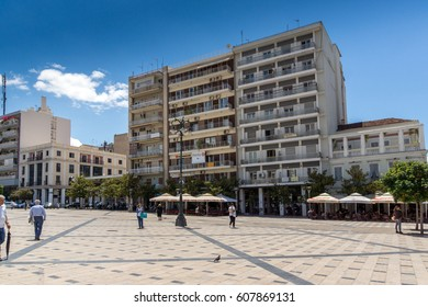 PATRAS, GREECE MAY 28, 2015: Panoramic view of King George I Square in Patras, Peloponnese, Western Greece