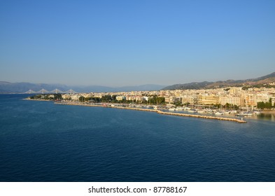 Patras Greece waterfront and Rio-Antirion Bridge