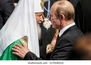 Patriarch Kirill of Moscow and All Russia and during President of Russian Federation Vladimir Putin after liturgy. Kyiv, Ukraine. 27-07-2013