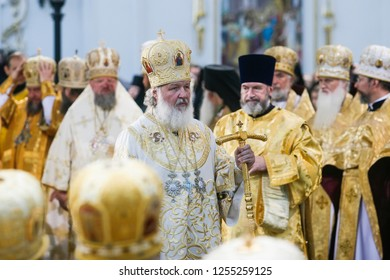 Patriarch Kirill of Moscow and All Russia during a liturgy. Kyiv, Ukraine. 28-07-2010