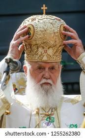 The Patriarch of Kyiv and All Rus' - Ukraine Filaret during the liturgy. Kyiv, Ukraine.  28-07-2010