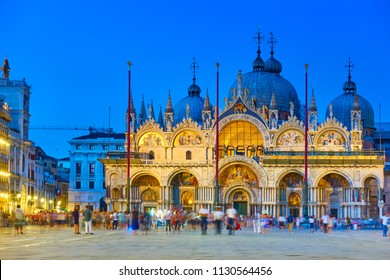 The Patriarchal Cathedral Basilica of Saint Mark in Venice in the late evening, Italy