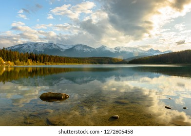 Patricia Lake on a sunny day in Jasper National Park