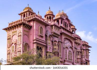 "Patrika Gate, The ninth gate of Jaipur located at Jawahar Circle, Patrika Gate in the Jawahar Circle Gardens in the ""Pink City"" , Jaipur, Rajasthan, India."