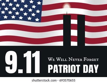 Patriot Day American Flag stripes background. Patriot Day  Poster Template illustration Patriot Day