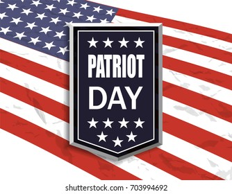 Patriot Day. National flag on white background. Banner with the inscription.  illustration