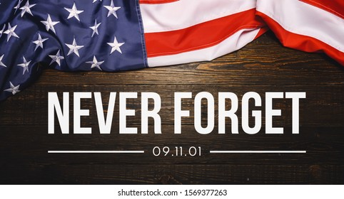 Patriot Day September 11 9/11 USA banner - United States flag or merican flag, 911 memorial and Never Forget lettering background or backdrop