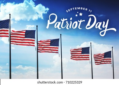Patriot Day Typography Over Flags Background