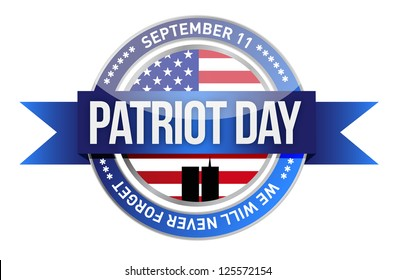 patriot day. us seal and banner illustration design