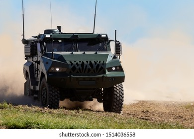Patriot II, a modern armored military personnel carrier vehicle demonstrates terrain capabilities.