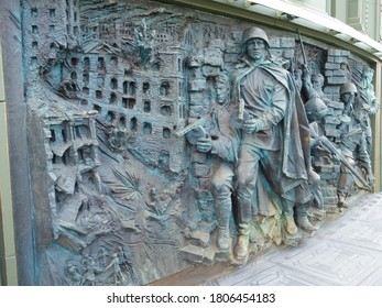 Patriot Park, Moscow region, Russia - August 06, 2020: A bas-relief on the wall of The Main Cathedral of the Russian Armed Forces depicting the Battle of Stalingrad during theWorld War II