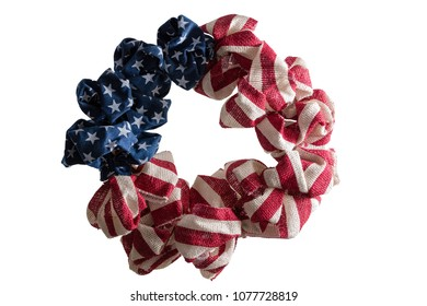 Patriotic American Independence wreath with the Stars and Stripes in knotted textile isolated on white