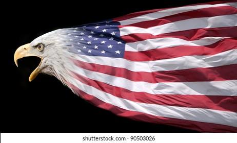 Patriotic bald eagle blended with US flag