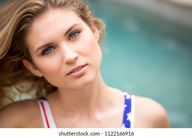 Patriotic Beautiful blue eyed woman looking at you