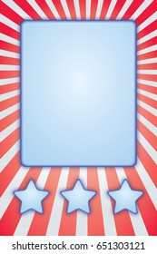 Patriotic border, stars and stripes with copy space