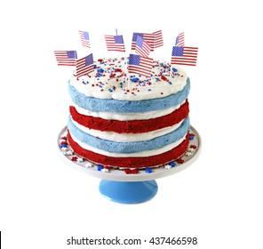 Patriotic cake isolated on white background