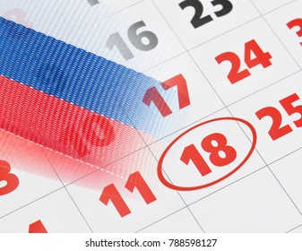 Patriotic Call - in Russia presidential elections 2018. Calendar with date to vote on 18th of March.