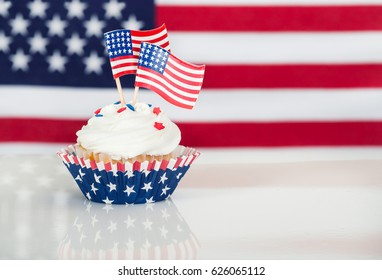 Patriotic cupcake with American flags