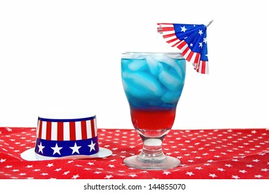 patriotic drink with flag umbrella with hat