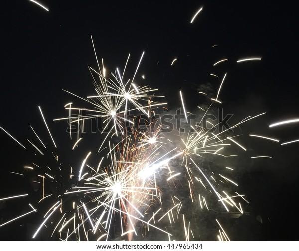 Patriotic fireworks on July fourth