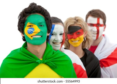 Patriotic group of people from different countries and flags painted on their faces ? isolated