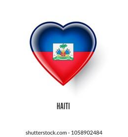 Patriotic heart symbol with Haiti flag illustration isolated on white background. Love Haiti design element or shiny logo, glossy button.