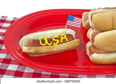 patriotic hot dog on party platter