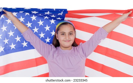 Patriotic little girl with american flag isolated over white