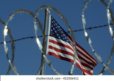 Patriotic Protection Behind Barbed Wire