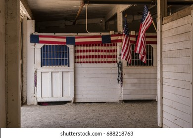 Patriotic Red, White and Blue Banners and Flag in Old Wooden Horse Stables