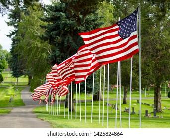 Patriotic row of American Flags
