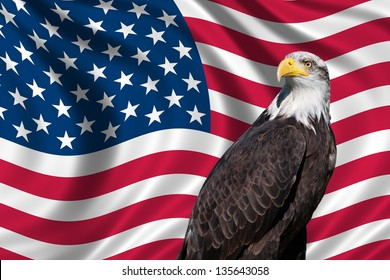 Patriotic symbol showing the American flag with a bald eagle