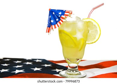 patriotic umbrella in summer lemonade on flag place mat