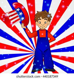 Patriotic Uncle Sam hat in young america boy hand: for 4th of July public holiday card greetings. Cartoon, doodle style. American stars, stripes background in national colours: red blue white