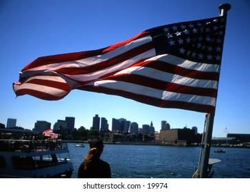 Patriotic view of Boston Harbor