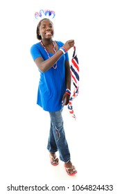 A patriotic-dressed tween girl waving a red, white and blue striped scarf.  On a white background.