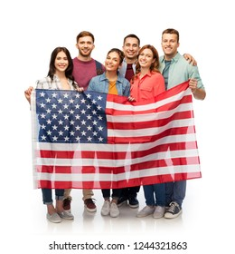 patriotism, citizenship and friendship concept - group of smiling friends with american flag over white background