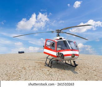 patrol helicopter of firefighters landing on the crack floor with blue sky