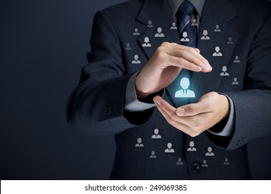 Patron, customer care, protection, customer personalization, individual customer relationship, care for employees, CRM, social customer service, marketing niche segmentation concepts.
