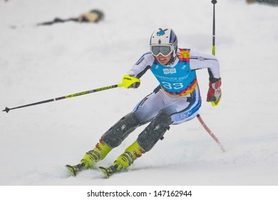 PATSCHERKOFEL, AUSTRIA - JANUARY 21 Strahinja Stanisic (Serbia) competes in the men's slalom on January 21, 2012 in Patscherkofel, Austria.