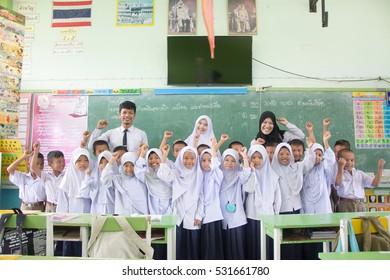 Pattani, Thailand 23 May 2016 : Student uniform of muslim in Pattani Thailand.