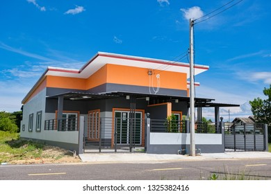 PATTANI, THAILAND - 27 October 2018 : Beautiful exterior of newly built modern house in Thailand.