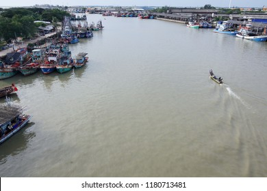 PATTANI, THAILAND -AUGUST 9:riverscape of pattani river with port of pattani tradition fish market,main business is fishering industry.AUGUST 9, 2018 pattani, THAILAND