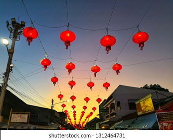PATTANI, THAILAND - FEB 2019 : Chinese festive celebration in thailand, hanging on each street makes a festive look for the Chinese festivities celebrating the sunset.