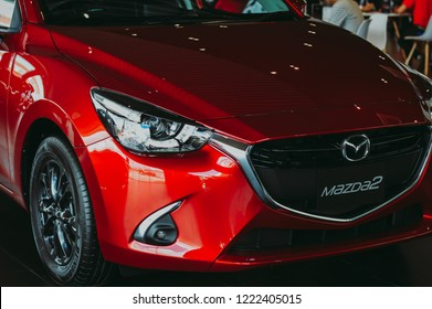 PATTANI,THAILAND-NOVEMBER 04,2018:Modern design of Mazda 2 Skyactiv G Eco Car.Show in Mazda next experience event.Elegance of the look and technology as a result customers are very interested.